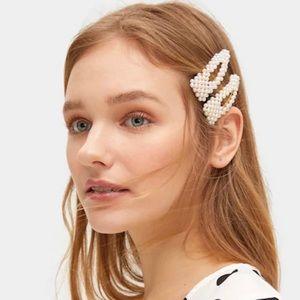 Accessories - Faux Pearl decor hair snap clip (2 pack)
